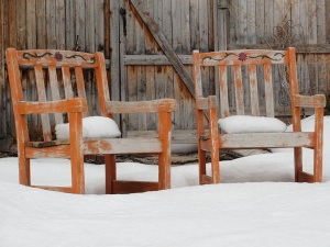 welcoming chairs with cushions of snow