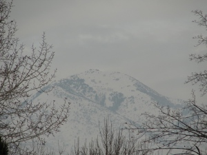 Wasatch Mountains with heavy inversion/air pollution