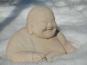 Neighbor's Buddha still laughing in the snow on 2/7/13,