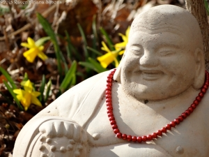 Neighbors' Buddha decked out with some stylie beads and first daffodils of the season on 3/1/15.